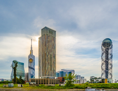 le: Alphabetic tower, Residence Porta Tower, Palm Apartments and Le Meridien Batumi hotel in Miracle Park in Batumi, Ajara, Georgia in May 2017 Editorial