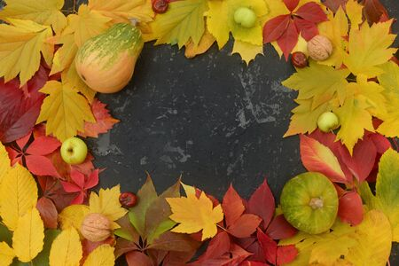Pumpkin, apples and walnuts on a black table with autumn yellow leaves