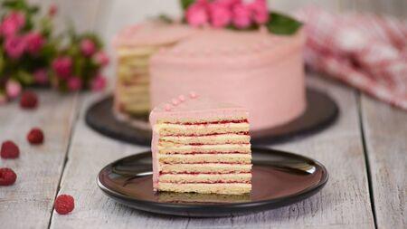 Slice Of Layered Creamy Fruit Cake. Raspberry Layer Cake
