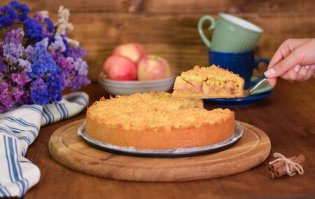 Apple pie or homemade cake with apples on table. Delicous dessert apple tart
