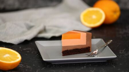 Piece of French Chocolate Orange Mousse Cake