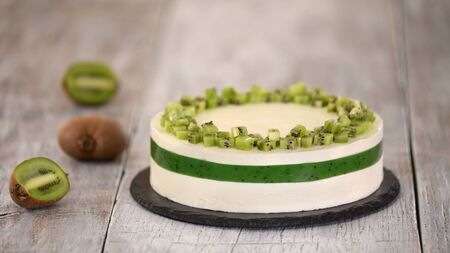 Homemade mousse cake with kiwi. French Cake With Fresh Kiwi. Stockfoto