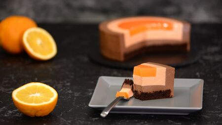 Piece of French Chocolate Orange Mousse Cake.