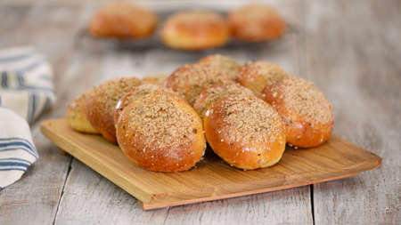 Homemade yeast buns with crumble. Sweet bread.