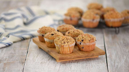 Homemade Blueberry Muffins for Breakfast. Sweet food Stockfoto - 152199930