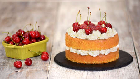 The Naked Cherry Cake With Vanilla Cream. 스톡 콘텐츠