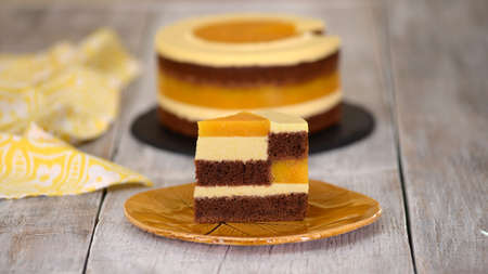 Piece of homemade chocolate sponge cake with peach mousse and jelly.