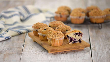 Homemade Blueberry Muffins for Breakfast. Sweet food. 스톡 콘텐츠