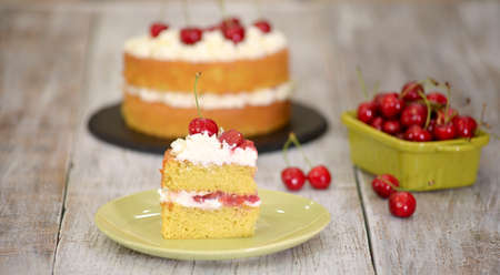 Piece of Cherry Cake With Vanilla Cream.
