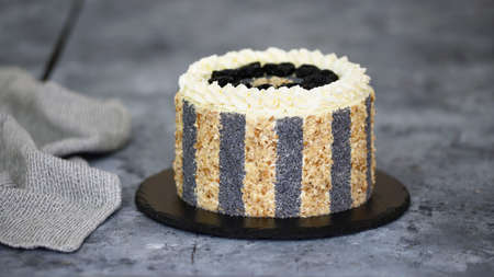 Delicious cake with prunes, nuts and poppy seeds. 스톡 콘텐츠