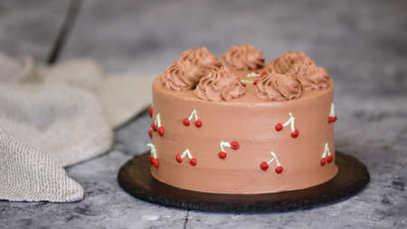 Chocolate Cherry Layer Cake with Whipped Cream.