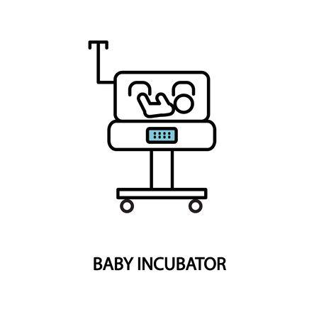 Icône de ligne incubateur bébé. Unité de soins intensifs néonatals. Prématuré Vecteurs