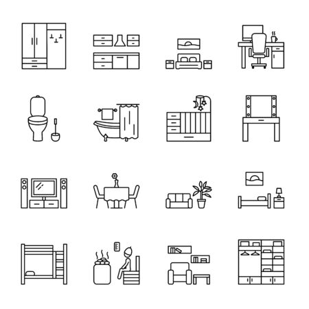 Home room vector line icons set. Types of rooms and premises in the house. Concept for web banners and printed materials. Stock Illustratie