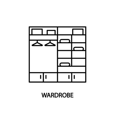 Wardrobe line icon. Concept for web banners and printed materials. Walk-in closet