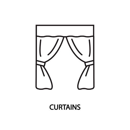 Window curtains line vector icon. Concept for website and printed materials