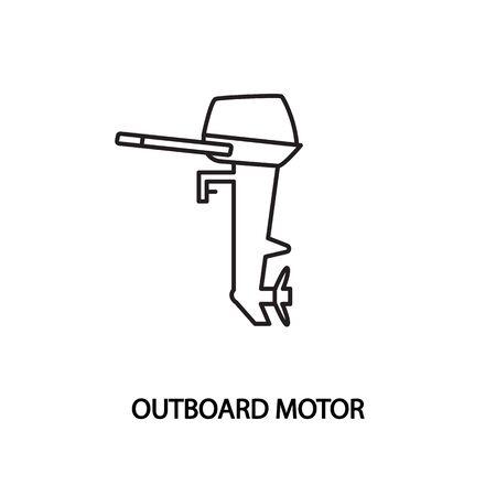 Outboard motor vector line icon