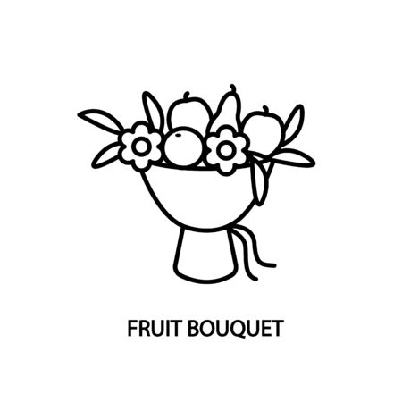Fruit bouquet line icon vector. Concept for website and printed materials or business card