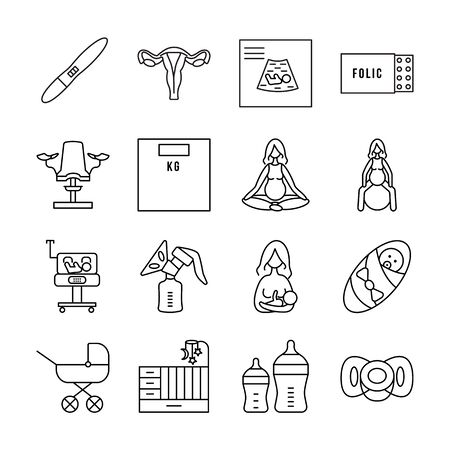 Pregnancy and childbirth line vector icon set. Group of objects about pregnancy and the birth of a baby and breastfeeding. Prenatal yoga and neonatal intensive care unit.