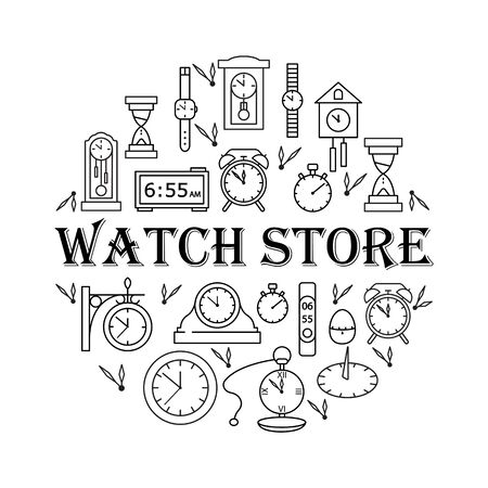 Clock store circle template with flat line icons. Vector illustration different kinds of watch banner. Concept for web banners and printed materials.