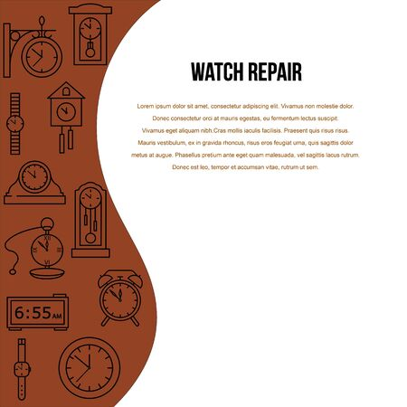 Clock repair poster with line icon. Template flyers for store. Concept for website, banners and printed materials.