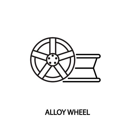Alloy wheel flat line icon. Lying, standing car rim. Vector illustrations to indicate product categories in the online auto parts store. Car repair. Vecteurs