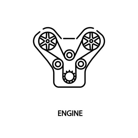 Car V engine flat line icon. Vector illustrations to indicate product categories in the online auto parts store. Car repair.