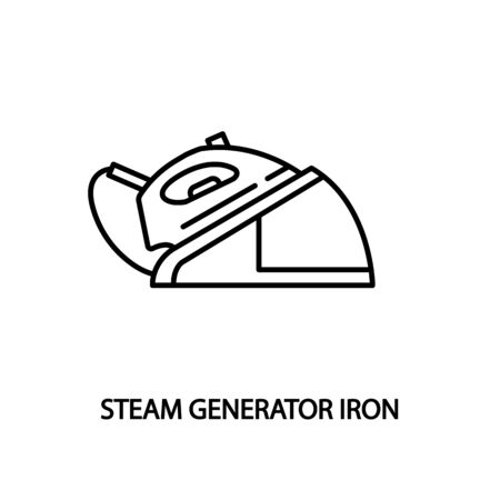 Steam generator iron line flat icon. Concept for web banners, site and printed materials. Vectores