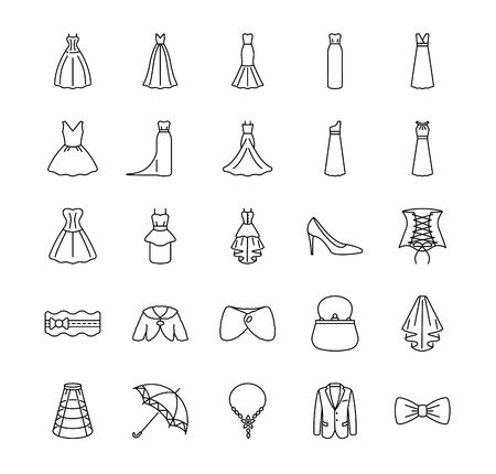 Icons set of varieties of wedding dresses and accessories. Different styles of wedding dresses. Vector illustrations to indicate product categories in the online bridal store.