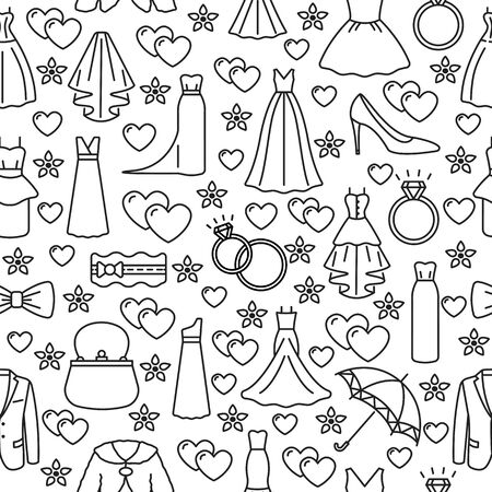 Seamless pattern with wedding dress and accessories flat line icon on a white background. Template for wedding boutique, bridal store. Concept for web banners and printed materials