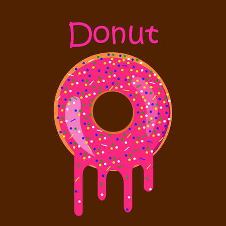 Pink donut on brown background with melting chocolate.