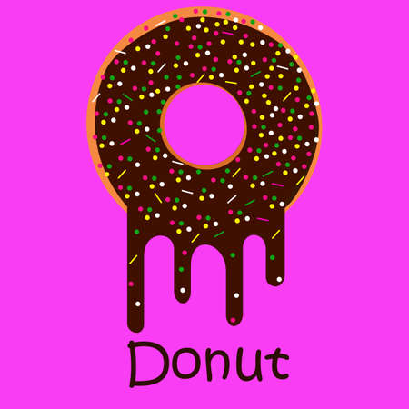 Donut on pink background with melting chocolate.