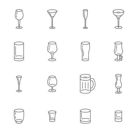 Icon set of different types of glasses for wine, beer and cocktails.