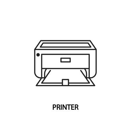 Printer line icon. Printing documents and photos. Vector illustrations to indicate product categories in the print shop
