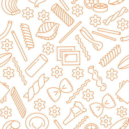 Seamless pattern with different types of Italian pasta.