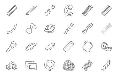 Different types of pasta icons set. Can be used to indicate italian pasta in restaurant menu.