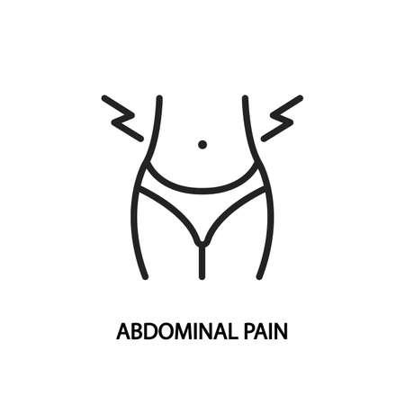 Abdominal pain line flat icon. illustration stomach pain during menstruation. Vektorové ilustrace
