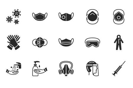 Covid-19 protection equipment and clothing glyph icon. Various types of protective masks and respirators and gloves,goggles, medical suit, face shield. Black silhouette.
