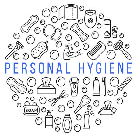 Personal hygiene products circle banner with line flat icon. Vector illustration hygiene for people. Any text can be used in the center.