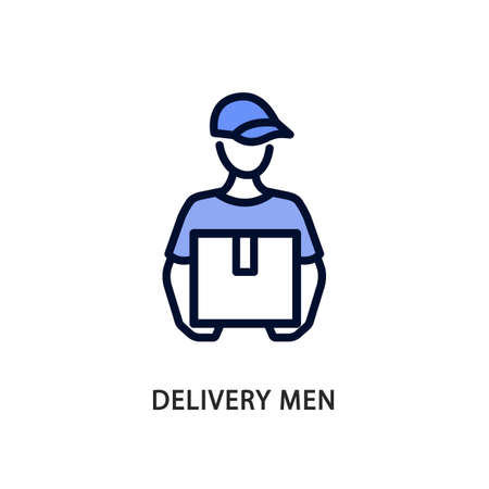 Delivery men line flat icon blue color. Vector illustration a man in a cap holds a box in his hands. Postman. Express delivery to the apartment Ilustrace