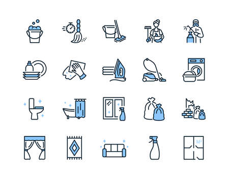 Cleaning service flat line icons set blue color. Vector illustration sections of cleaning company services. Editable strokes.