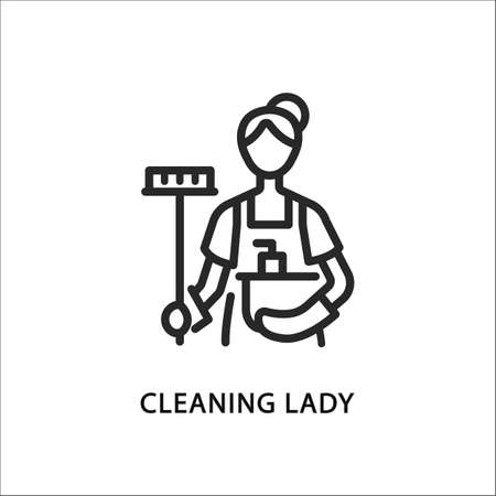 Cleaning lady line flat icon. Vector illustration woman with a mop and a basin. Maid Ilustracja