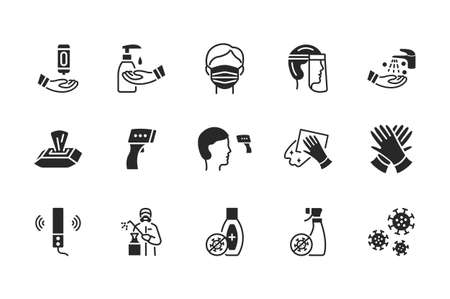 Glyph icons set about disinfection and personal protective equipment. Vector illustration antiviral actions. Black silhouette 向量圖像