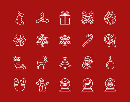 Christmas and New Year flat line icon set white color on a red background. Editable strokes Stock Illustratie