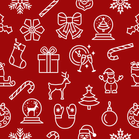 Christmas and new year seamless pattern with flat line icons. White symbols on a red background.