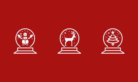 Snow globe line flat icons. Vector illustration Christmas accessory. Sphere inside which there is a snowman, christmas tree and deer. White color on a red background. Editable strokes