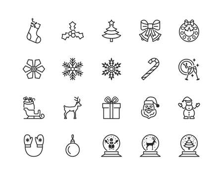 Christmas and New Year flat line icon set . Editable strokes.
