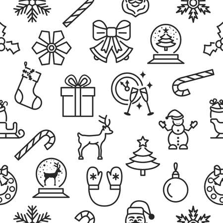 Christmas and happy new year seamless pattern with flat line icons