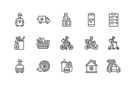 Food and medicines delivery flat icon set. Vector illustration couriers on different transport, motorbike, car, bike and scooter. Pizza delivery. Editable strokes. Illustration