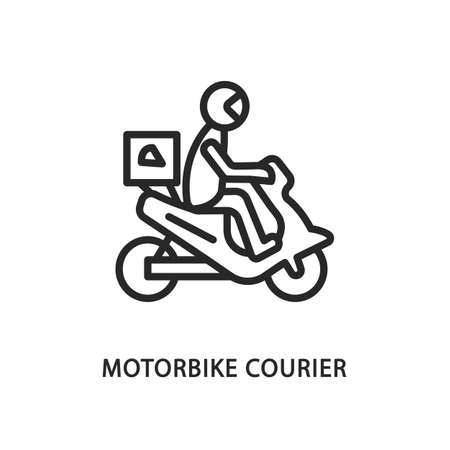 Food delivery motorbike flat line icon. Vector illustration motorcycle courier with safety helmet Illustration
