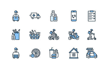 Food and medicines delivery flat line icon set blue color. Vector illustration couriers on different transport, motorbike, car, bike and scooter. Pizza delivery. Editable strokes